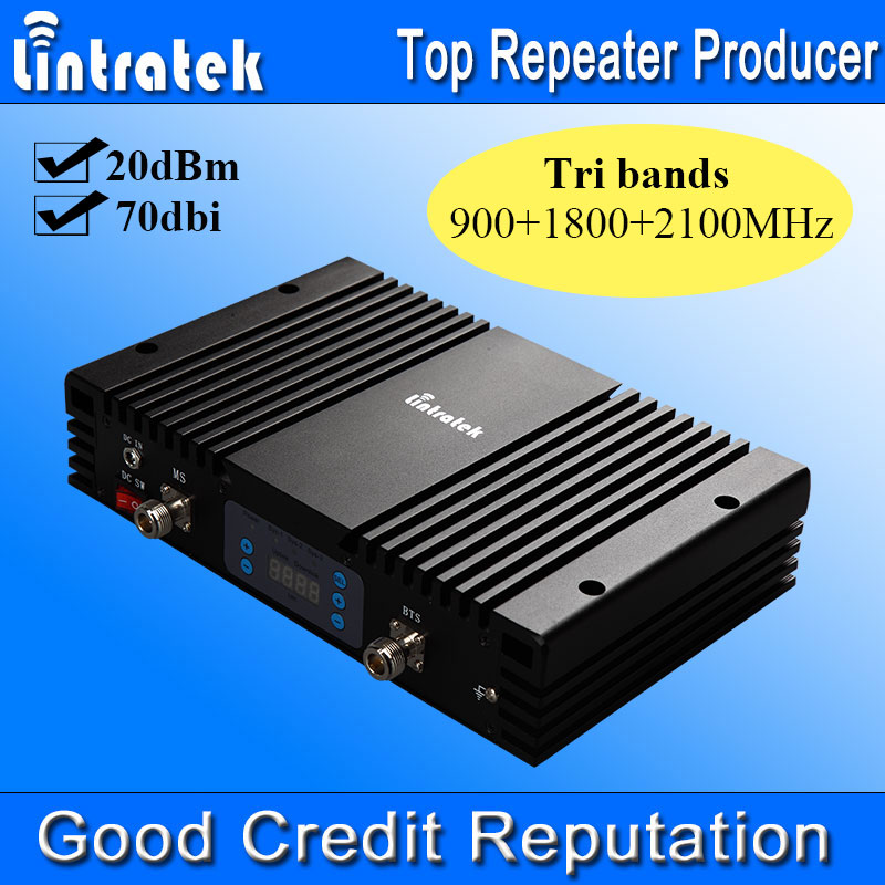 Lintratek 70dbi Tri Bands Mobile Phone Boosters LCD 2G GSM 900 3G UMTS 2100 4G LTE 1800 Cell Phone Signal Boosters Repeater #