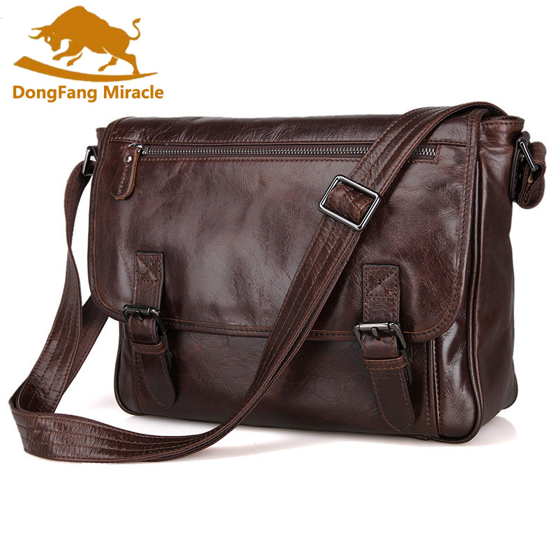 DongFang Miracle Hot Sale Vintage casual genuine leather men Messenger bag Shoulder bags for men CrossBody business package-in Crossbody Bags from Luggage & Bags    1
