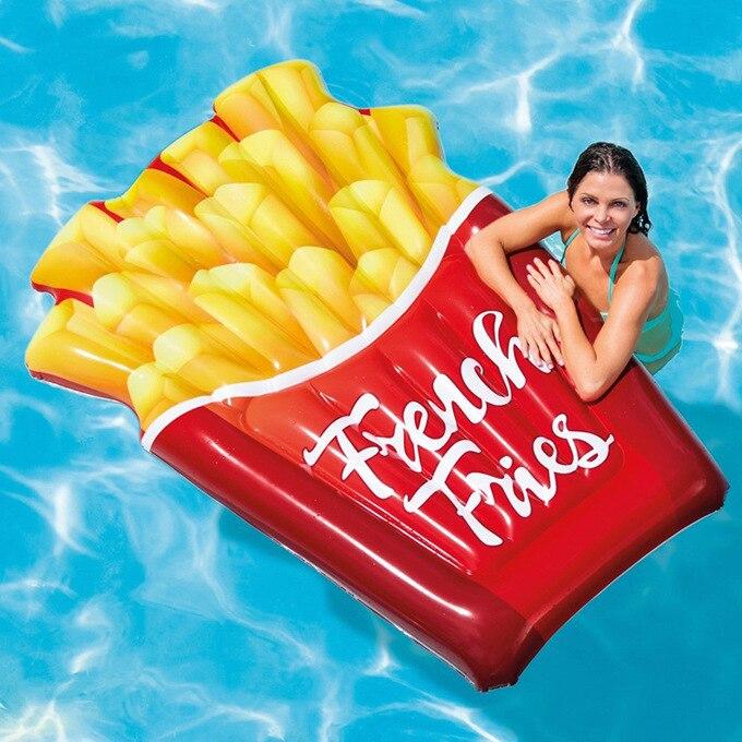 175 cm géant gonflable frites 2019 plus récent flotteur de piscine pour enfant adulte anneau de natation flotteurs d'eau fête de vacances jouets Piscina
