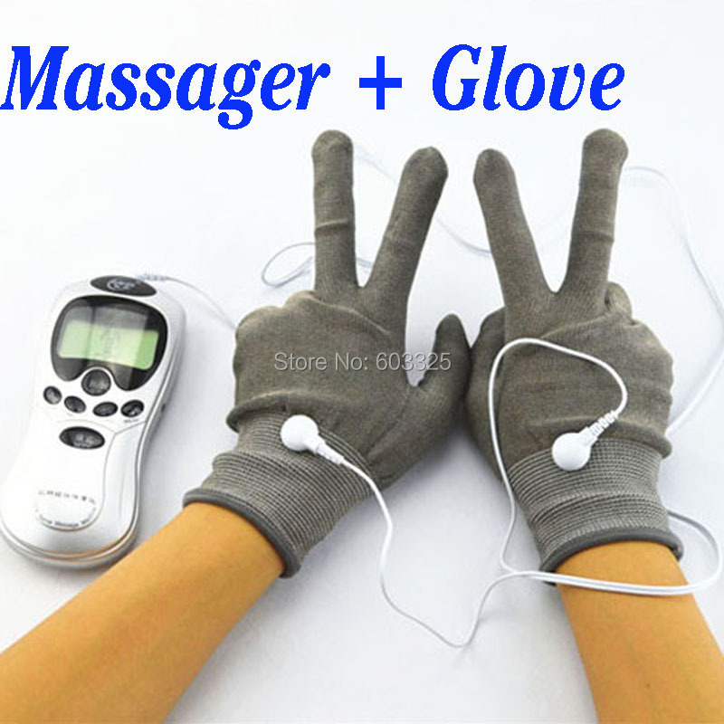 Hand Pain Relief Massager Therapy Massage Electric Digital Massager With Fiber Electrode Massage Gloves 2017 hot sale mini electric massager digital pulse therapy muscle full body massager silver