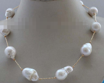 """Miss charm Jew1864 19"""" Natural White Baroque Reborn Keshi Pearl Chain Necklace 14k"""