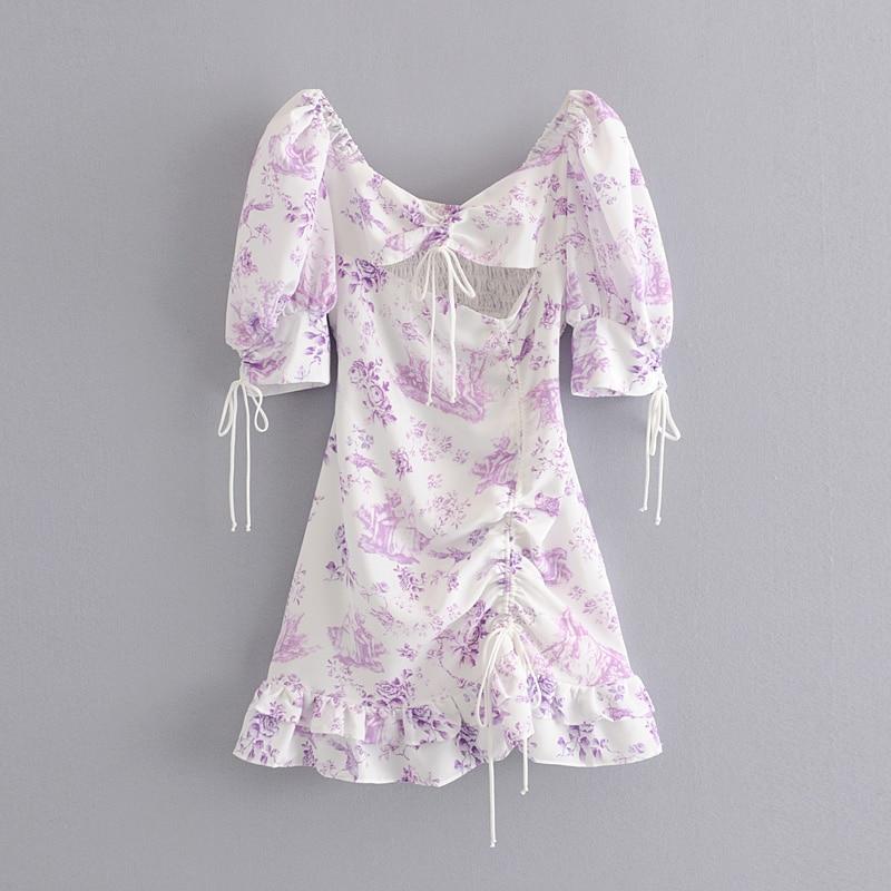 Stylish Chic Purple Floral Print Lace-Up Cuff Mini Dress Elegant Women Sexy Backless Strapless Dresses Casual Vestidos