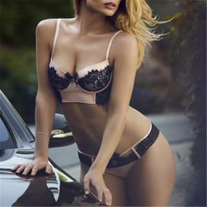 Image 2 - CINOON Sexy Women Bra Set Pink Red Black Lace Bra Brief Sets plus size Brassiere Push Up Bra and Panties Set Intimates
