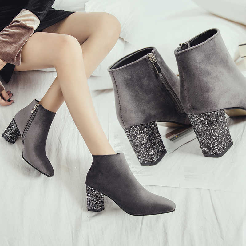 Women 7.5cm High Heels Ankle Boots Block Heels Winter Suede Warm Short Plus Boots  Gray 616bf0e8f946