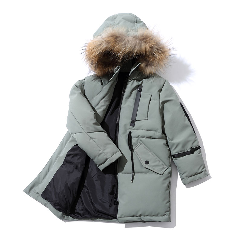 Pioneer Camp Kids 2017 New Boys Winter Warm Cotton Jackets Outerwear Coats Fashion Big Collar Thick Warm Jacket for boys 2017 girls down jacket winter long jackets children outerwear coats fashion big collar solid pockets thick warm overcoat 120 150