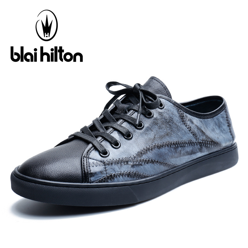 Blai Hilton Brand Spring/Autumn Genuine Leather Patchwork Luxury Men Shoes Casual Sneakers Fashion Footwear Male Designer Shoes vesonal 2017 brand casual male shoes adult men crocodile grain genuine leather spring autumn fashion luxury quality footwear man