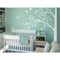 On Sale White tree wall decal corner tree wall decals nursery sticker decor mural 235X200CM Free Shipping