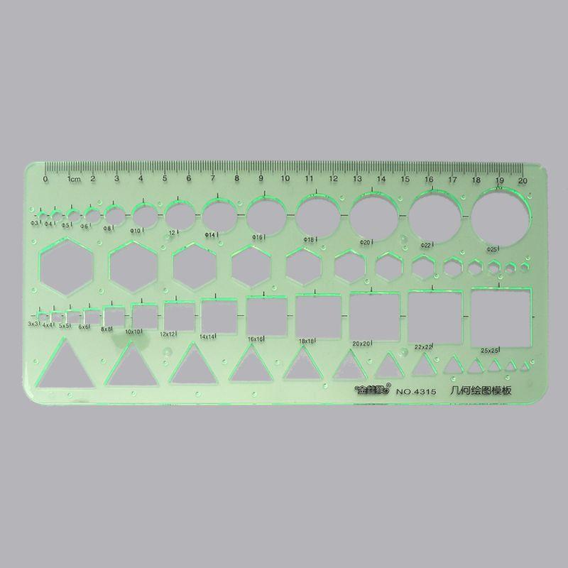 6Pcs Drawing Plastic Templates Measuring Geometric Jewelry Design Rulers Green
