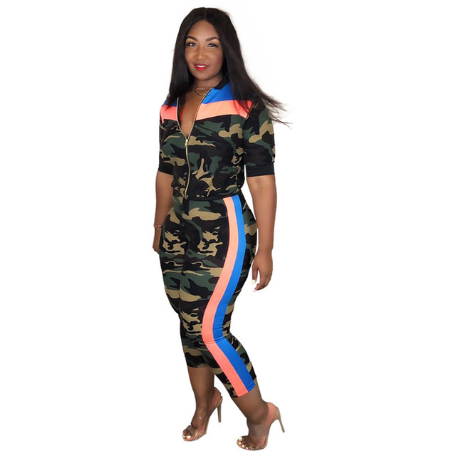 Adogirl Camo Stripe Print Women Tracksuits 3 Piece Set Bra Top Zipper Jacket Outerwear and Pencil Pants Sporting Outfits Suit