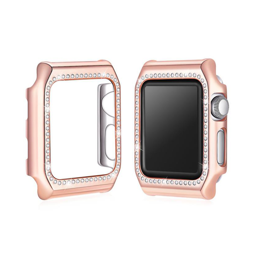 CRESTED Diamond Case Cover For Apple Watch 42mm 38mm Iwatch series 3 2 1 PC Frame Crystal Protective Shell Watch Accessories case cover for apple watch 4 44mm 40mm iwatch strap 3 2 42mm 38mm aluminum alloy frame diamond protective shell accessories