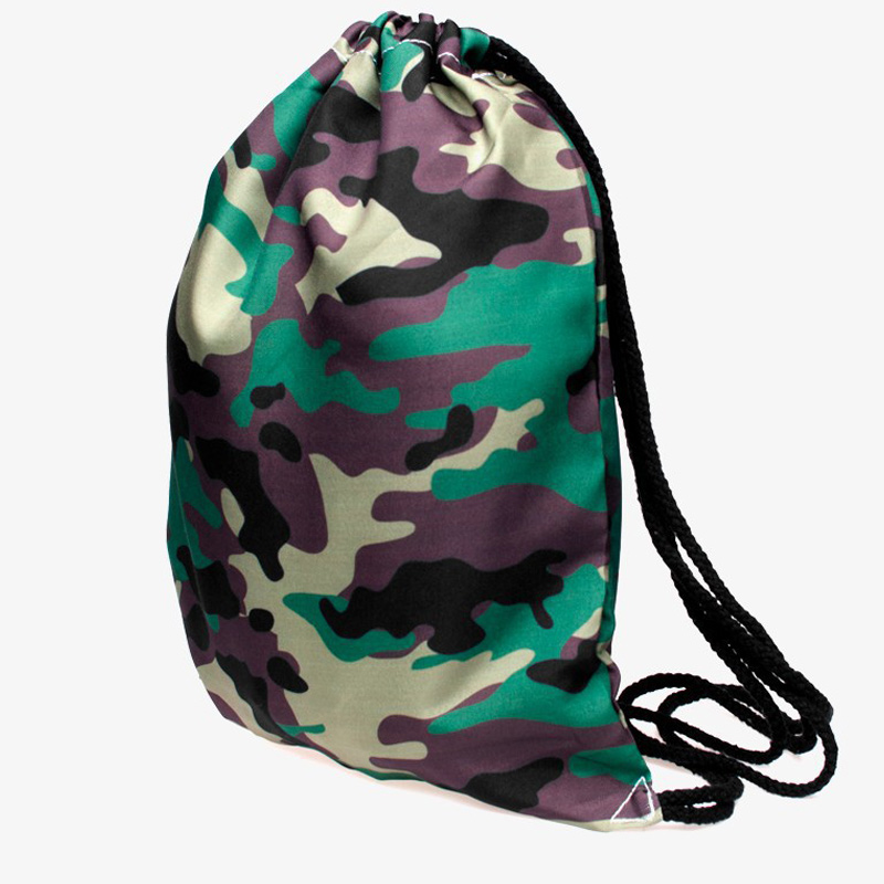 Drawstring Bags Women Camouflage Printed Drawstring Backpack bag 3DVintage College Students School Backpack Girls Female Sack Ba tile printed drawstring raglan sleeve hoodie