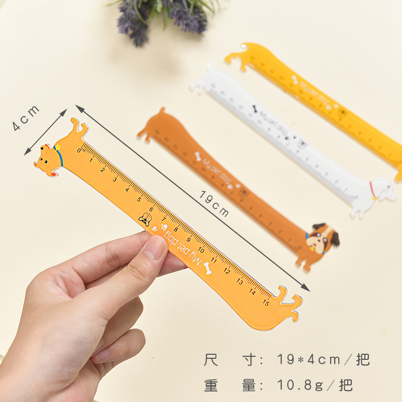 10pcs Creative ruler cartoon cute puppy modelling 15 cm clear scale accurate student learning stationery