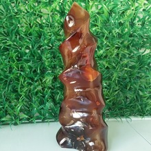 A 260mm  tall Natural agate flame home decoration agate stone and chakra reiki healing crystals agate цены