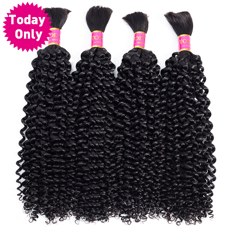 TODAY ONLY 3 Bundles Brazilian Kinky Curly Bundles Human Braiding Hair Bulk No Weft Curly Human