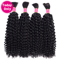 TODAY ONLY 3 Bundles Brazilian Kinky Curly Bundles Human Braiding Hair Bulk No Weft Curly Human Hair Bundles Remy Hair Extension