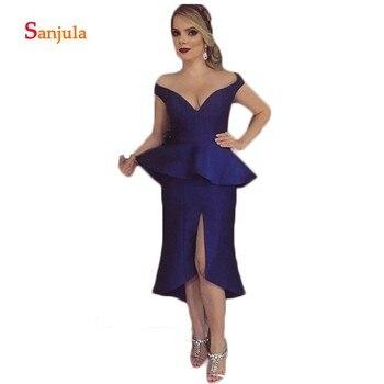 Knee Length Satin Mother of the Bride Dresses Royal Blue Sweetheart Off the Shoulder Peplum Elegant Formal Dress Leg Slit D300