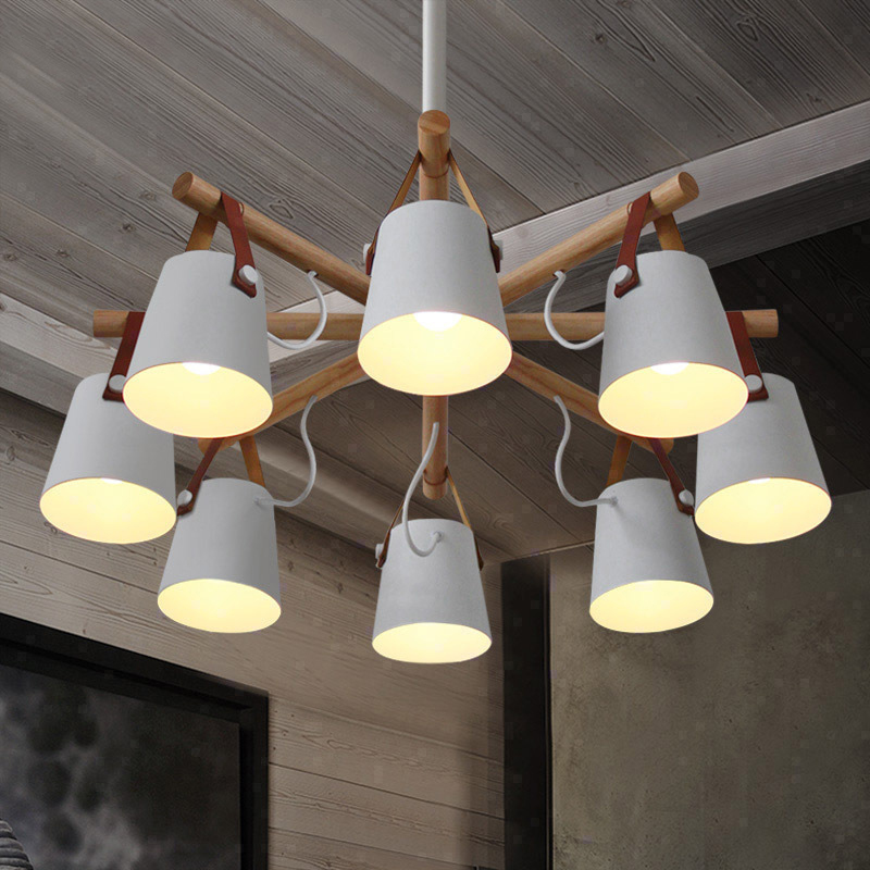 Nordic restaurant chandelier modern minimalist restaurant lights creative bar lighting cafes maca wood lamp jimbo maca