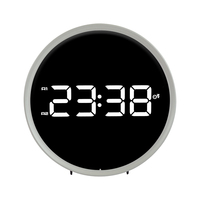 Timer Display Double Ring White Black Desk Electronic Digital LED Clock FM Radio Snooze Function Alarm Clock Table Watch
