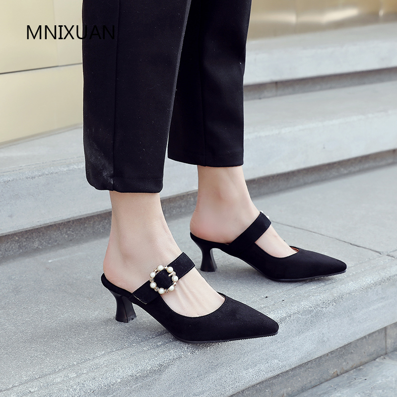 MNIXUAN Classics sexy spring women pumps shoes mules shoes high heels 2019 new suede square toe thick heel pearls big size 34-43MNIXUAN Classics sexy spring women pumps shoes mules shoes high heels 2019 new suede square toe thick heel pearls big size 34-43