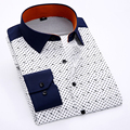 Men Long Sleeve Shirt Slim Fit Print Polyester Cool Spring Summer Style Boys Casual Shirts Plus Size 4XL Formal Business Fashion