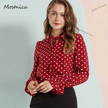 Mostnica Women Noble Burgundy Polka Dot Summer Blouses Chiffon Office Ladies Shirts Long Lantern Sleeves Bow Tie Evening Blouse sweet long sleeves cartoon print blouse polka dot skirt twinset for women
