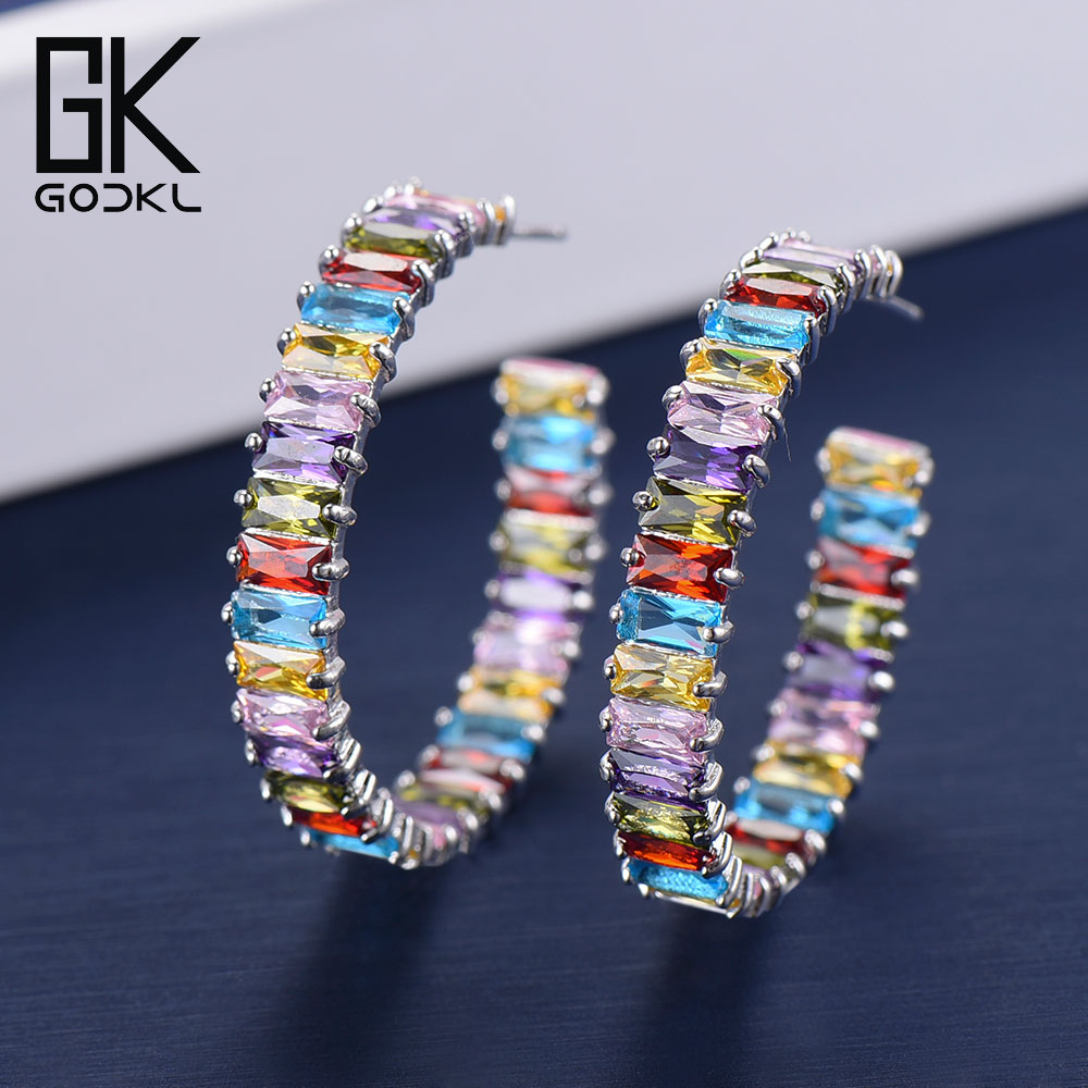 GODKI Personality Rainbow Cubic Zirconia Super Circle Hoop Earrings For Women Fashion Jewelry Trendy Retro Round Hoop Earrings glitter hoop stud earrings