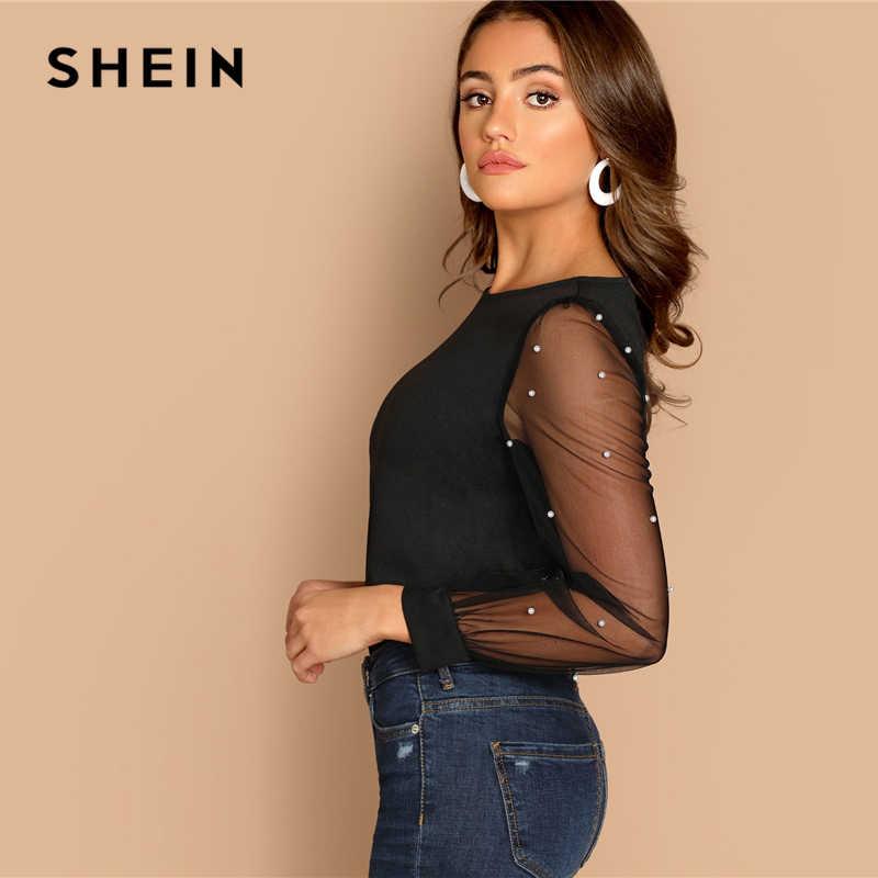 a354e6e8c1d0 ... SHEIN Modern Lady Black Pearl Beaded Mesh Sleeve Round Neck Plain Top  Women Streetwear Autumn Minimalist ...