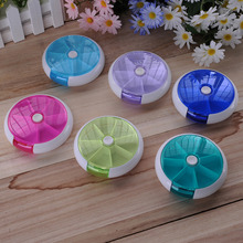 Portable Rotating Pillbox Travel Pill Case Pill Organizer Medicine Box Drugs Pill Container Outdoor Travel 7-day Dose