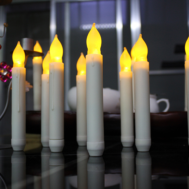 6pcslot yellow flicker battery operated candles ivory white body battery taper candles