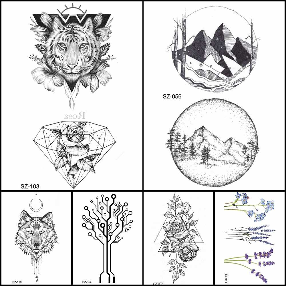 Fashion pencil sketch tattoo men stickers geometric temporary tattoo tiger diamond women arm fake tatoos round mountain supplies