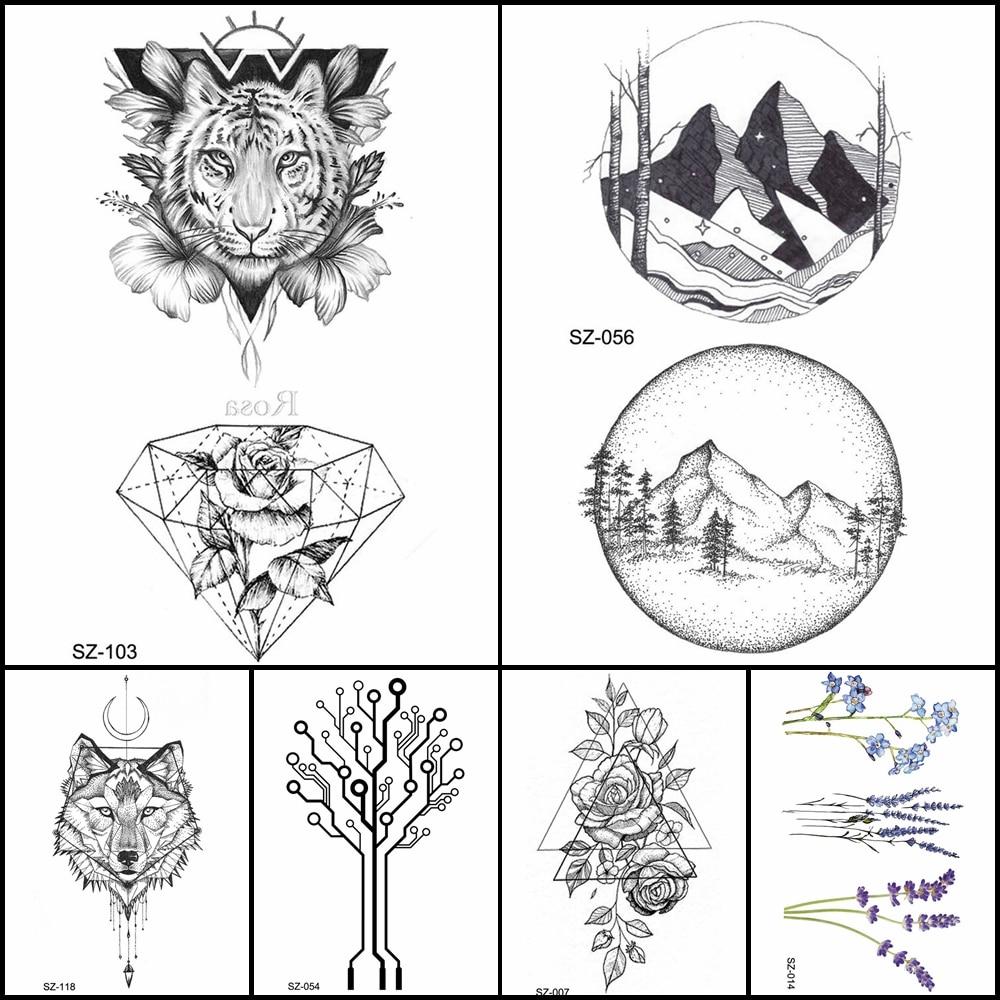 R1 93 moda lápis esboço tatuagem homens adesivos geométrica tigre mulheres de diamante falso braço tatuagem temporária tatoos redondas montanha