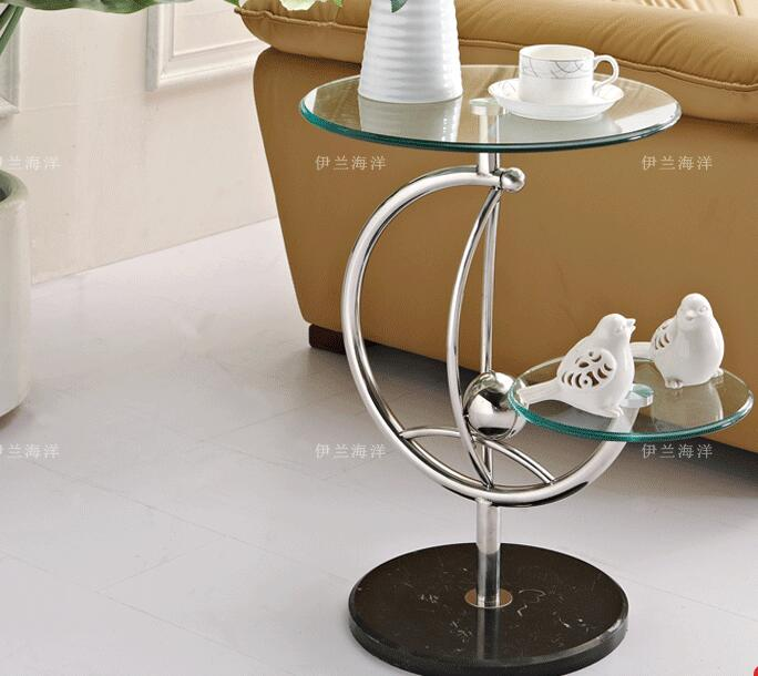 Free shipping Toughened glass double side table sofa. Small round a few shelf individuality serveware