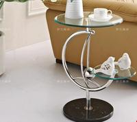 Free shipping Toughened glass double side table sofa. Small round a few shelf individuality