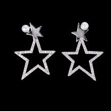 SisCathy Charms Silver Gold Color Star Earrings For Women Luxury Pearl Cubic Zirconia Stud Earring Party Accessories