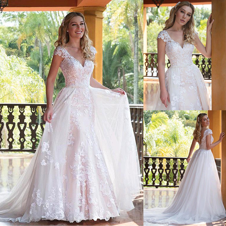 Tulle V-neck Neckline 2 In 1 Wedding Dresses With Lace Appliques & Beadings Two Pieces Bridal Dress With Detachable Skirt
