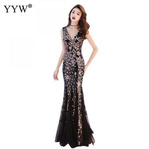 Image 4 - エレガントなスパンコール女性の高級ロングイブニングドレスフォーマルドレスクラブパーティー vestidos 刺繍チャイナ伝統的な中国マーメイドドレス