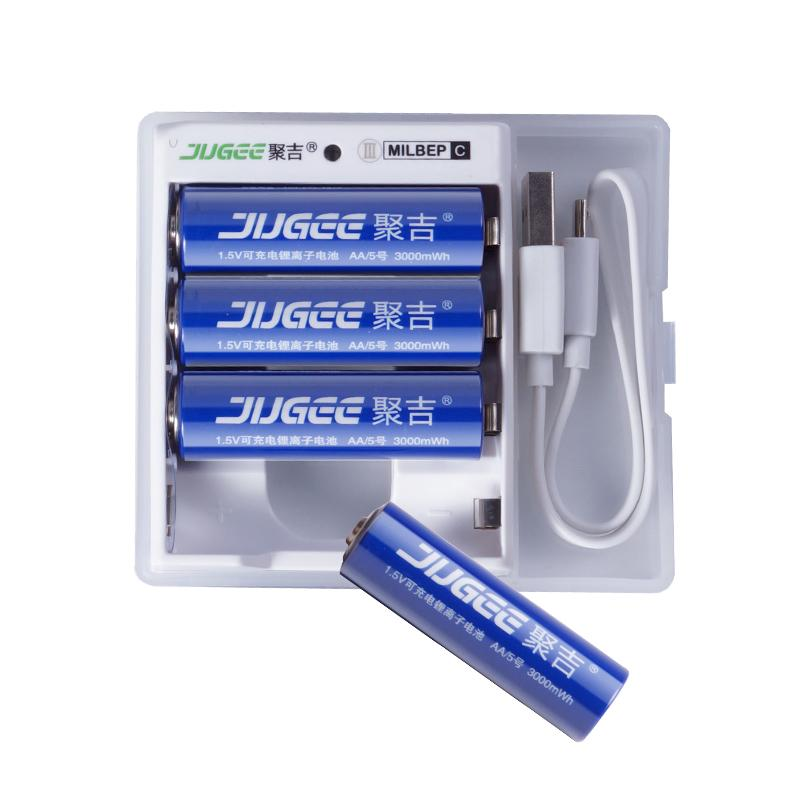 4pcs JUGEE 1.5 v 3000mWh AA Li - polymer Li - ion lithium polymer rechargeable batteries + charger new product 4pcs 1 5 v 3000mwh aa li polymer li ion lithium polymer rechargeable batterie avec charger set 1 usb charger