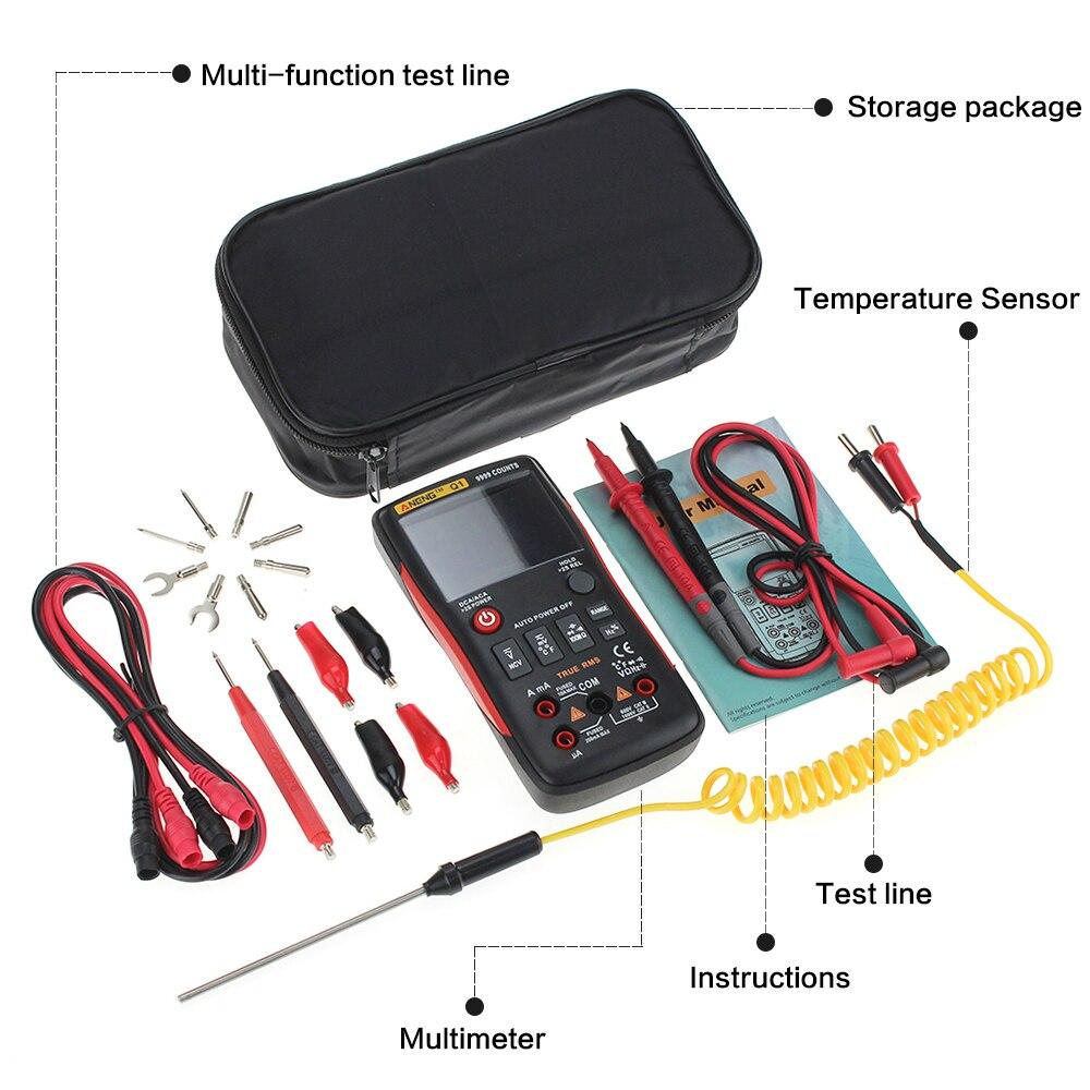 Q1 Trms Multimètre Numérique Auto Bouton 9999 Compte Avec Graphique à Barres Analogique AC/DC Tension Ampèremètre Actuel Ohm Transistor Testeur - 5