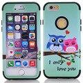 Cubierta para iphone 6 6 s plus negro bird owl chica pintura caucho colores multi impacto hybrid a prueba de golpes de silicona suave y duro apple 6G