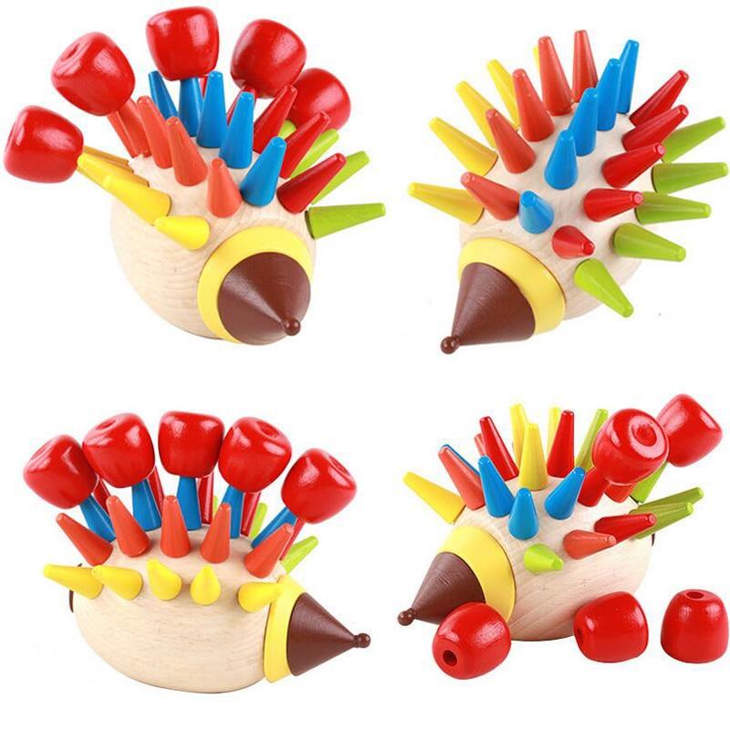DIY Magnetic Colorful Hedgehog Knocked Toys  Wooden Building Blocks Children Early Childhood Education Toys MT45