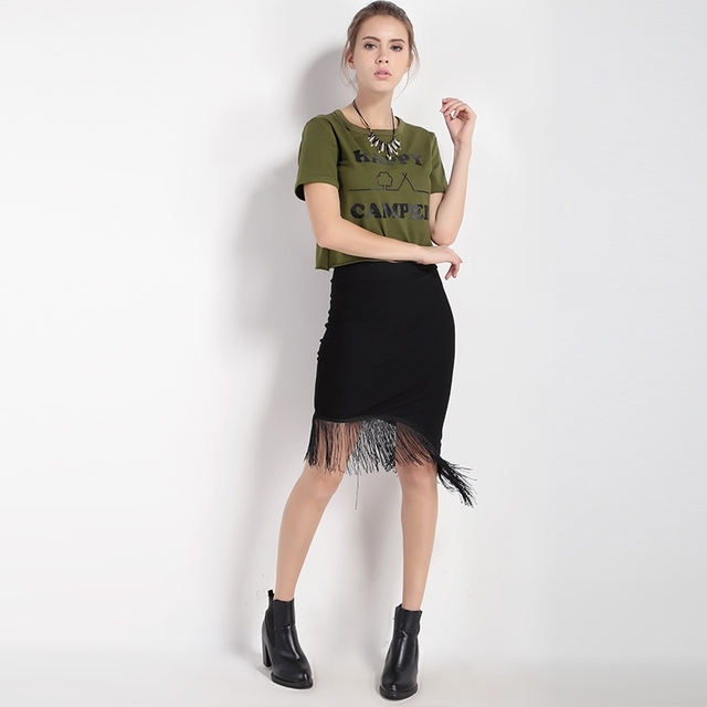 MIJN MAYAASOS 2017 Basic Vrouwen Gedrukt T-shirt Korte Mouw O-hals Casual Losse Crop Tops Legergroen Streetwear Tees