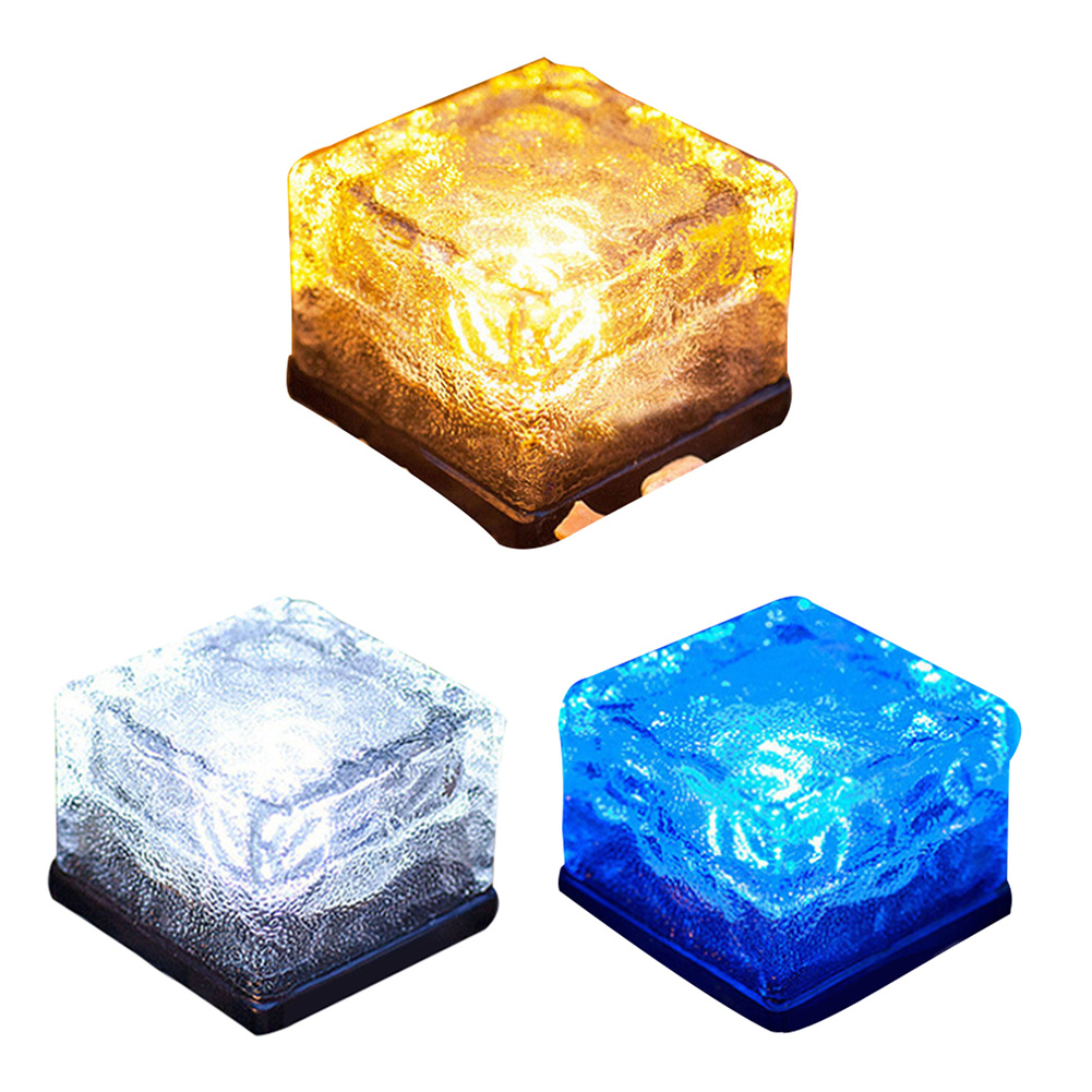 Sunlight Glass Bricks Solar Light for Garden Decoration Clear Decorative Waterproof Ground Crystal Powered Led Light