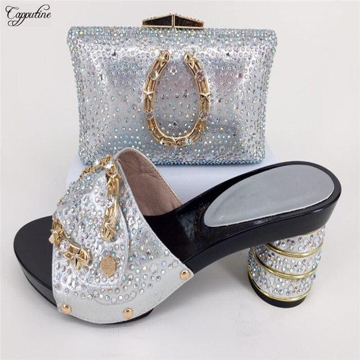 Удивительные Свадебные/вечерние Серебро высокий каблук сандалии и кошелек сумочка со стразами 2033-9 много цветов, size37-43