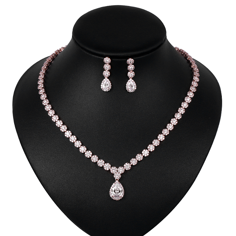 Image 3 - WEIMANJINGDIAN Halo Pear Drop and Flower Cubic Zirconia CZ  Crystal Necklace and Earring Wedding Bridal Jewelry SetBridal Jewelry  Sets