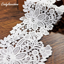 2 Yards 14cm Width Floral White Wide Lace Trim Ribbon Tape Embroidered Lace DIY For Sewing Dress Decor Textile Lace Trimmings кружево для шитья diy lace garden 7 14cm lt048 diy embroiered