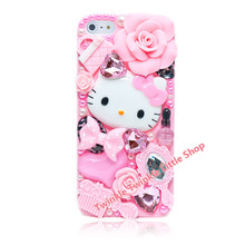 Free Shipping Cute DIY 3D Crystal Diamond Hello Kitty Hard Back Skin Phone Cases For Apple iphone 5s case for iphone 5c case(China)