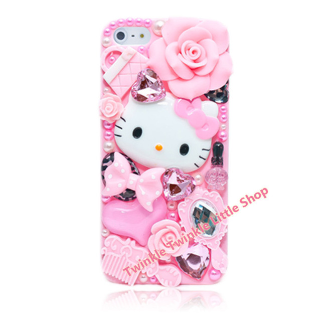 quality design eac5c 09c67 US $6.48 |Free Shipping Cute DIY 3D Crystal Diamond Hello Kitty Hard Back  Skin Phone Cases For Apple iphone 5s case for iphone 5c case-in Rhinestone  ...