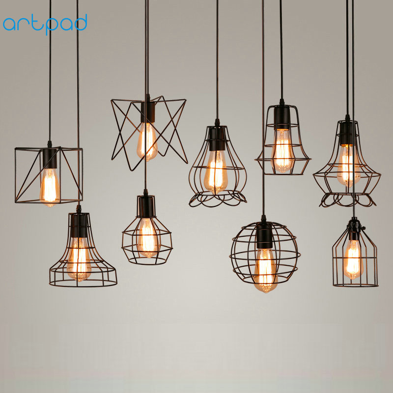 Artpad Loft Retro Industrial Pendant Light Metal Shade E27 Edison Bird Cage Lamp Kitchen Dining-Table LED Bar Pendant Light edison loft style vintage light industrial retro pendant lamp light e27 iron restaurant bar counter hanging chandeliers lamp