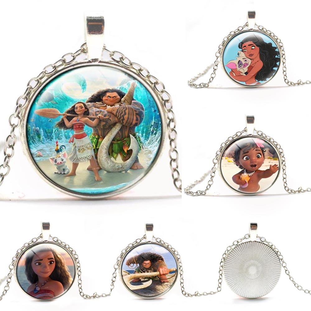 2017 Movie Moana Anime Glass Necklaces Pendants chain Moana Choker cosplay accessary