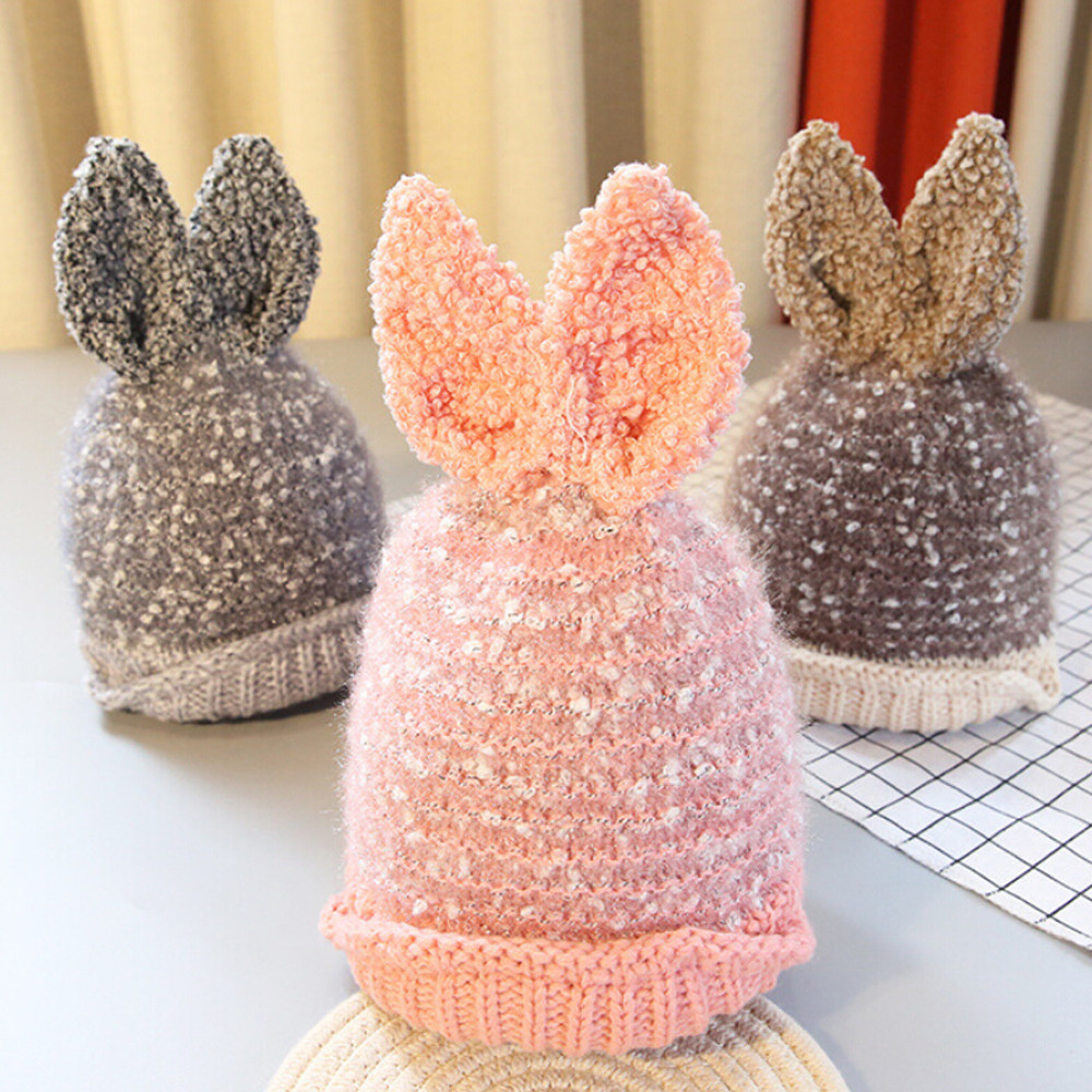 Fashion baby hat baby Boys Girls Beanie Snow rabbit bunny wool cap autumn Cute rabbit ear Hat Children Accessories Photo Props